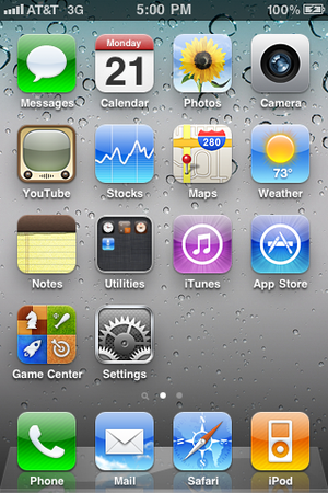 The iOS 4.3.x home screen, as shown on an iPho...